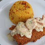 Plantain Mahi with shrimps in carbonara sauce on top