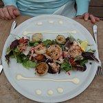salade gamba's, coquilles en krab