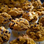 We offer gluten free and vegan desserts made with no refined sugars.. chocolate chip pumpkin muffins!