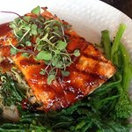 Korean Glazed BBQ Salmon Bay of Fundy Salmon Smothered with Oven Glazed Korean BBQ, Served with Power Blend Quinoa and broccoli rabe.
