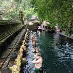 Purifucation ritual at Tirtha Empul temple to remove all negative from the body, mind and soul