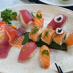 Shared sushi plate.