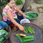 one of rakhine traditional food, making with sticky rice and coconut