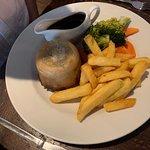 Beef suet pudding and veg