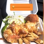 Cracked shrimp with fries and salad