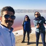 With two nice and girls from Belgium with different nationality beside the maharloo lake