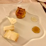Cheese selection with pear-filled pastry--Osteria di Passignano