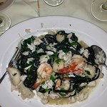 Black ink pasta with crabmeat and shrimp