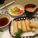 Spring Rolls, Salad, Miso Soup