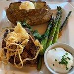 Steak dinner at Anthony's Restaurant in Anacortes, Washington.
