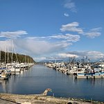 The outside view from Anthony's Restaurant in Anacortes, Washington.