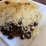 arepa of black beans and beef ... sooooo good !!!!!