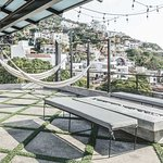 Double hammock lounge, fire pit & an outdoor shower on the rooftop terrace