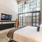 Loft 202, opens to the rear waterfall. This is a 2 bedroom loft that has 2 king beds.