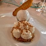 "Rich almond cream on a cracked ""amygdaloto"", crispy almond brittle and almond ice crea"