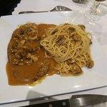 Escalope milanaise et spaghettis.