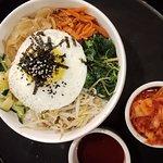 Vegetarian Bibimbap ~ a bowl of Korean rice rich with assorted vegetables serve with Bibimbap sauce & kimchi