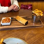 Homemade Sausage Roll with chips and beans