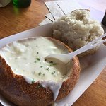 Clam chowder sourdough bowl.