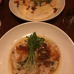 Black grouper over Rosetta and shrimp and grits.
