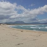 The main beach at Kleinmond seen from the Sandown Blues restaurant in Kleinmond.