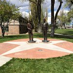 Statues of Oppenheimer and Gen Groves.