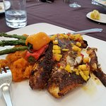 orange roughy with mango salsa, sweet peppers, asparagus and sweet potatoes