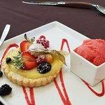lemon tart with fruit and strawberry sorbet