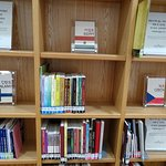 Book display in library.