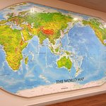 Map of the world in library.