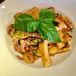 Rigatoni with grilled chicken on our rigatoni pasta