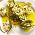 Seafood special gulf red snapper a la verde. With clams and gulf shrimp, lemon juice, evoo, garlic and green onions