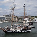 A variety of ships visit Beaufort harbor, not all from our current times