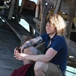 Chilling and enjoying an ice cold Red Stripe Beer at the Pelican Bar.
