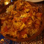 Chicken plov with egg and tomato
