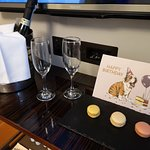 Lovely touch that the hotel brought Prosecco macaroons and a card to the room for my birthday.