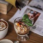 Affogato. A luscious dolop of vanilla ice cream over the freshly brewed espresso.