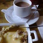 Mini crumble with custard and a pot of tea £5.