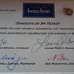 Our anniversary card from Bouchon.
