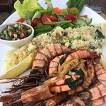 grilled king prawns and couscous