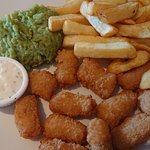 Scampi and chips with lovely mushy peas