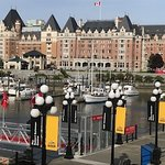 Our Harbour view of the Empress Hotel from our table.