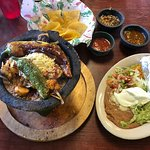 The Molcajate with a chili toreado