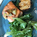 Wild- Caught Atlantic Salmon, rainbow chard, mixed greens and heirloom tomato relish