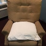 Retire or toss these old chairs/recliners they are visibly dirty, greasy and bottomed out in the seats. We added bed pillows and covered them in a sheet to use this one in our room: gross!