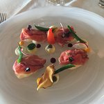 Starter with superb very rare roast beef and many subtle flavoured items. Just superb