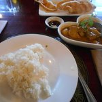 Chicken & potato curry with rice & fried tofu 4,500 Kyat
