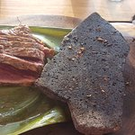 Steak with Lava Rock for cooking