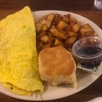 Veggie Omelet with home fries and biscuit