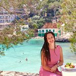 Me (@fromjuliewithlove) enjoying the view at Cafe Drac in Cala Santanyi